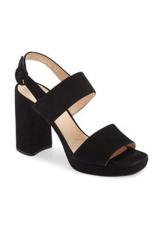 Prada Block Heel Suede Sandal