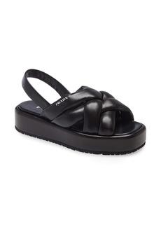 Prada Woven Slingback Platform Sandal (Women)