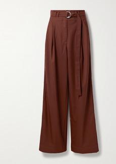 Proenza Schouler Belted Pleated Twill Wide-leg Pants