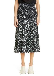 Proenza Schouler Animal Pattern Pleated Jacquard Skirt