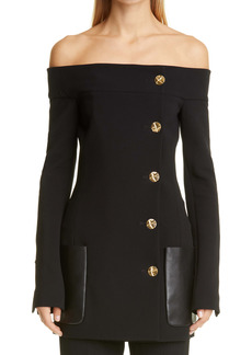 Proenza Schouler Button Detail Off the Shoulder Stretch Wool Suiting Jacket