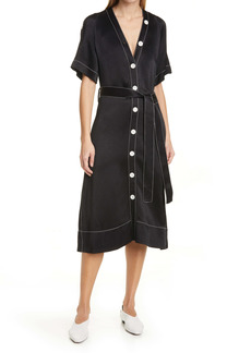 Proenza Schouler White Label Convertible Elbow Sleeve Dobby Crepe Shirtdress