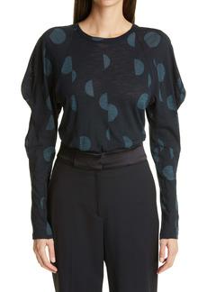 Proenza Schouler Dot Leg of Mutton Sleeve Tissue Jersey Top