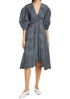 Proenza Schouler White Label Dot Print Puff Sleeve Poplin Dress
