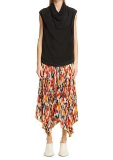 Proenza Schouler Floral Pleated Handkerchief Hem Skirt