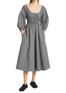 Proenza Schouler Gingham Balloon Sleeve Cotton Midi Dress