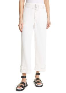 Proenza Schouler High Waist Belted Cuff Rumpled Piqué Pants