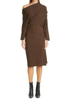 Proenza Schouler Rib One-Shoulder Long Sleeve Dress
