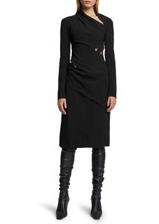 Proenza Schouler Spiral Button Long Sleeve Matte Crepe Dress