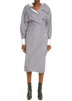 Proenza Schouler Stripe Long Sleeve Stretch Cotton Wrap Shirtdress