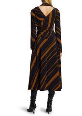 Proenza Schouler Stripe Twisted Long Sleeve Faux Wrap Midi Dress