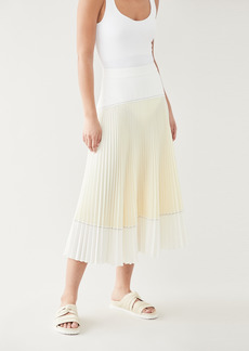 Proenza Schouler White Label Colorblock Pleated Crepe Skirt
