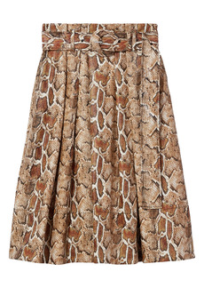 Proenza Schouler White Label Faux Snakeskin Belted Skirt