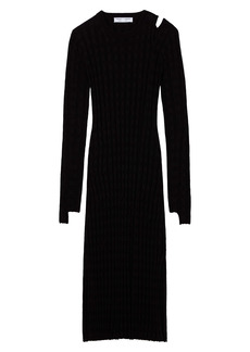 Proenza Schouler White Label Velvet Ribbed Long Sleeve Checkerboard Dress