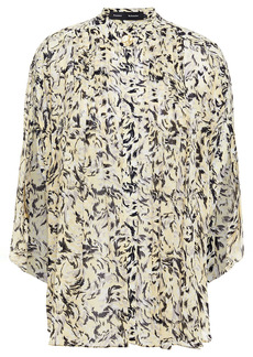 Proenza Schouler Woman Pleated Printed Crepe Blouse Pastel Yellow