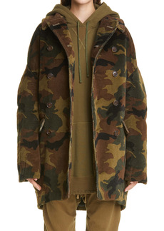 R13 Camo Oversize Double Breasted Corduroy Hunting Coat