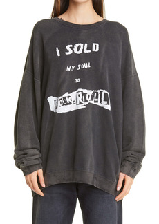R13 I Sold My Soul Distressed Oversize Sweatshirt