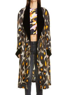 R13 Leopard Print Velvet Trim Robe Jacket