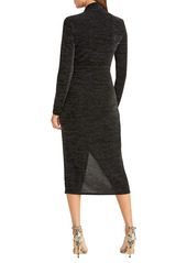 RACHEL Rachel Roy Bret Long Sleeve Faux Wrap Metallic Cocktail Dress