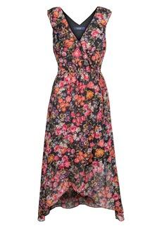RACHEL Rachel Roy Stripe Floral Print Wrap Dress