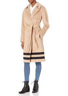 RACHEL Rachel Roy Women's Border Design Belted Wrap Trench Coat  S