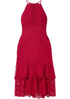 Rachel Zoe Woman Annalise Tiered Guipure Lace Midi Dress Crimson