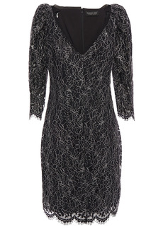 Rachel Zoe Woman Anya Chiffon-trimmed Metallic Corded Lace Mini Dress Black