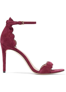 Rachel Zoe Woman Ava Scalloped Suede Sandals Claret