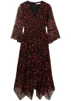 Rachel Zoe Woman Caden Asymmetric Floral-print Silk-crepon Midi Dress Black