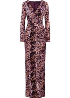 Rachel Zoe Woman Dianora Wrap-effect Devoré-velvet Gown Purple