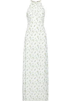 Rachel Zoe Woman Olivia Open-back Ruched Floral-print Twill Gown White