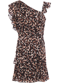 Rachel Zoe Woman Ruffled Leopard-print Devoré-chiffon Mini Dress Chocolate