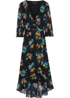 Rachel Zoe Woman Wrap-effect Floral-print Chiffon Midi Dress Black