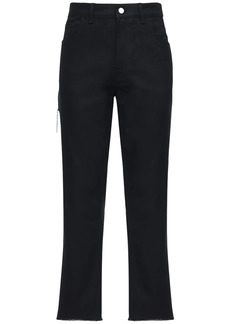 Raf Simons Crop Cotton Denim Jeans W/ Zip Pockets