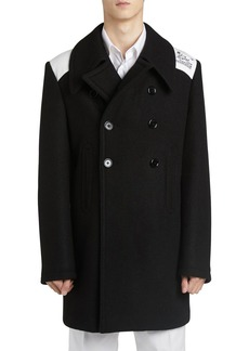 Raf Simons Cropped Caban Wool Blend Coat