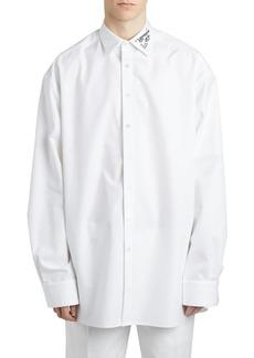 Raf Simons Over Cotton Poplin Shirt W/ Embroidery