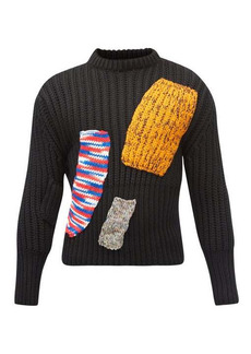 Raf Simons AW14 knitted-patchwork wool-blend sweater