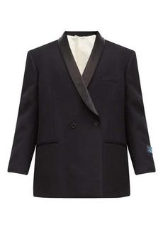 Raf Simons Double-breasted satin-lapel wool smoking jacket