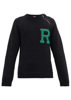 Raf Simons Logo-appliqué zipped ribbed sweater