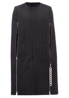 Raf Simons Punk chain-zip wool cape