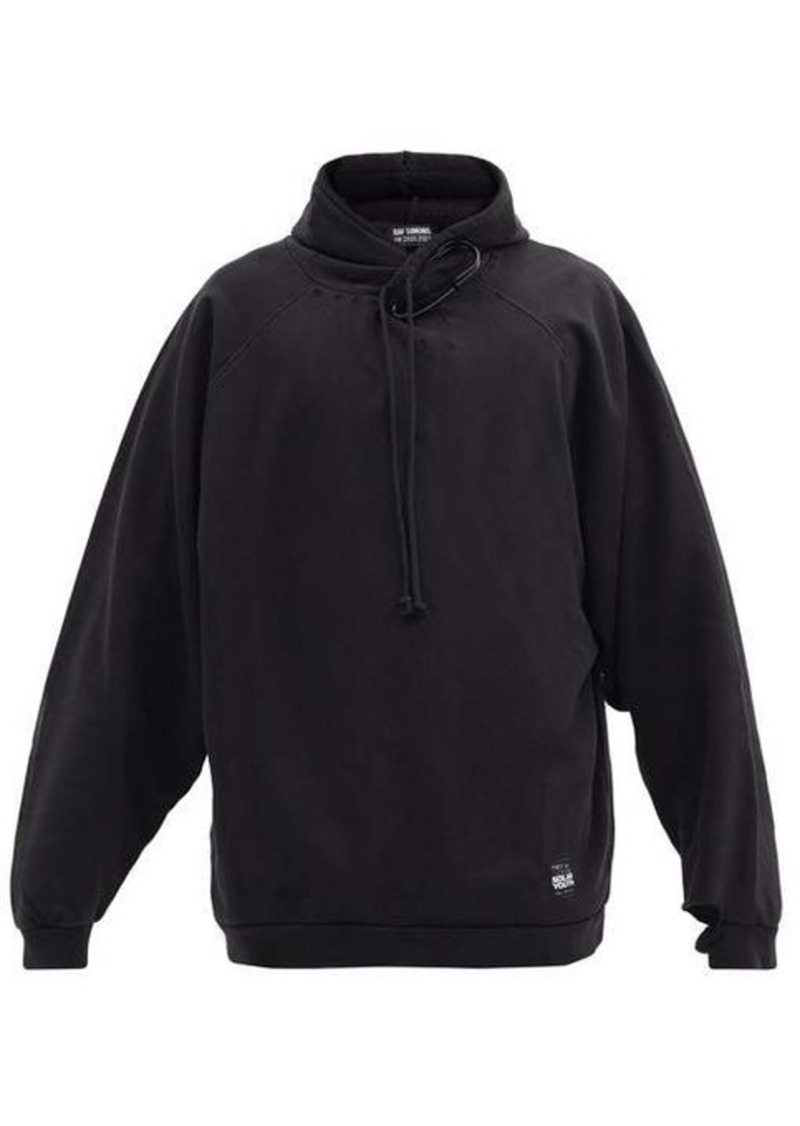 Raf Simons Safety-pin distressed cotton hooded sweatshirt