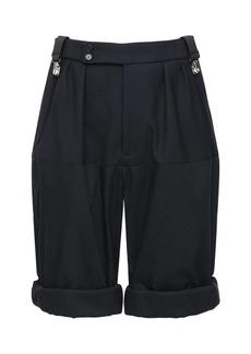 Raf Simons Wide Virgin Wool Blend Pinstripe Shorts