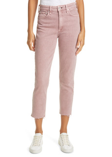 rag & bone Nina High Waist Raw Hem Ankle Straight Leg Jeans (Light Plum)