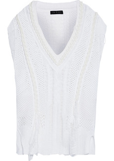 Rag & Bone Woman Celina Braid-trimmed Open-knit Cotton-blend Vest White