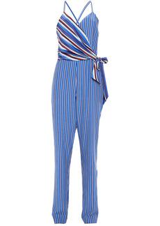 Rag & Bone Woman Felix Wrap-effect Striped Silk Crepe De Chine Jumpsuit Blue