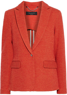 Rag & Bone Woman Grosgrain-trimmed Herringbone Cotton-blend Blazer Red