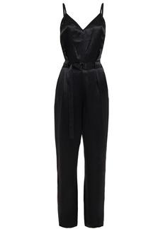 Rag & Bone Woman Rochelle Belted Crinkled Satin-crepe Jumpsuit Black