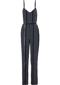 Rag & Bone Woman Rosa Belted Striped Crepe Jumpsuit Midnight Blue