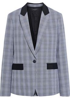 Rag & Bone Woman Rylie Grosgrain-trimmed Prince Of Wales Checked Cady Blazer Black