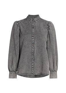 Rails Angelica Linen-Denim Puff-Sleeve Shirt